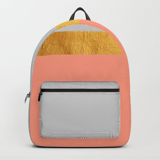 Minimalist Fashion Peach Pink + Gold + Squares Backpack