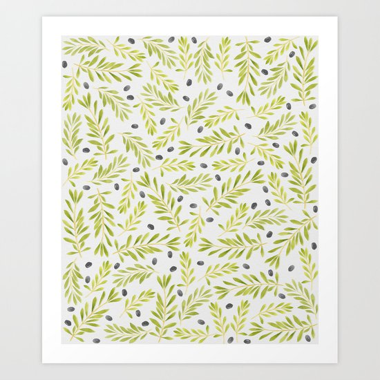 Watercolor Olive Branches Pattern Art Print
