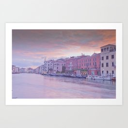 Venice in pastel, pink soft fluffy clouds over Venice, Italy Art Print