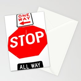 One Way , Stop , All way Sign Stationery Cards