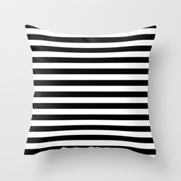 Black and White Horizontal Strips Throw Pillow