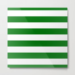 Large Green and Snow White Christmas Cabana Stripes Metal Print