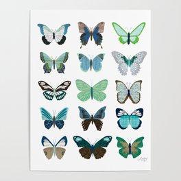 Green and Blue Butterflies Poster