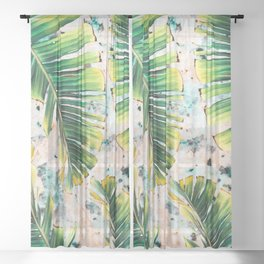 Palm leaf on marble 01 Sheer Curtain