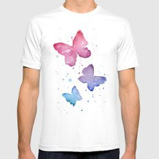 Butterflies Watercolor Abstract Splatters White Mens Fitted Tee MEDIUM