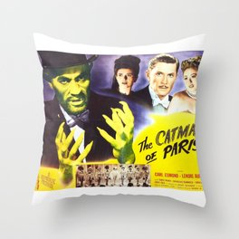 The Catman of Paris, Vintage Horror Movie, Theater Poster Throw Pillow