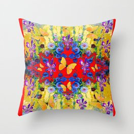 RED GARDEN  PURPLE FLOWERS YELLOW BUTTERFLIES Throw Pillow