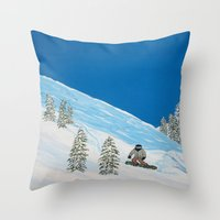 snowboarding Throw Pillows featuring Snowboarding by N_T_STEELART