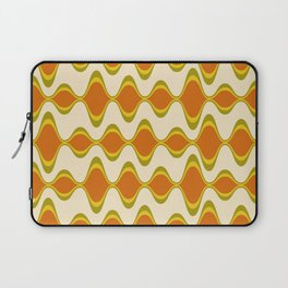 Retro Psychedelic Wavy Pattern in Orange, Yellow, Olive Laptop Sleeve