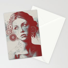 Ayil: Red Shadow | vintage lady portrait | zentangle mandala drawing Stationery Cards