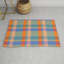 Colourful Plaid Tartan Textured Pattern Rug