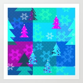 Bright blue Christmas Art Print
