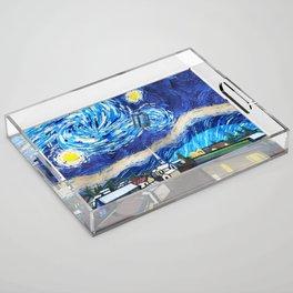 Tardis Art Starry City Night Acrylic Tray