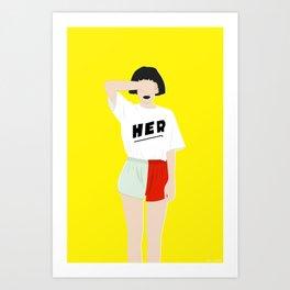 HER Yellow Art Print