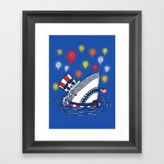 The Patriotic Shark Framed Art Print