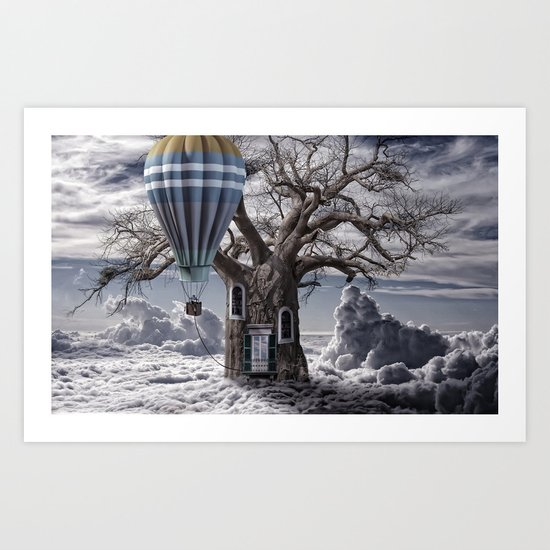 Home tree up in the clouds Art Print