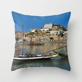 Port wine barges on the Douro, Porto Throw Pillow