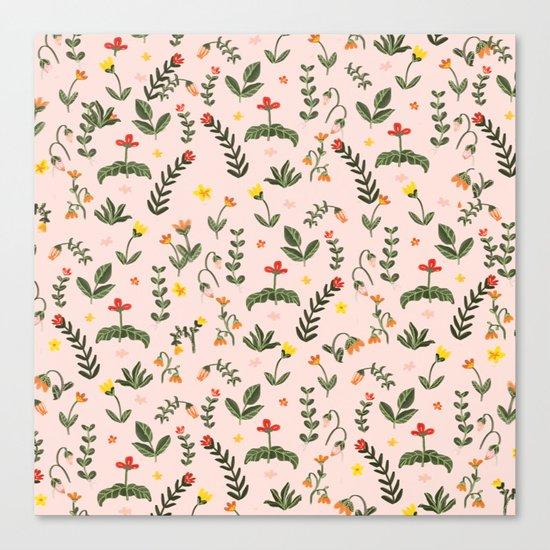 Bright Pink Floral Garden Canvas Print