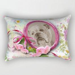 Vintage style Bulldog in the garden Rectangular Pillow