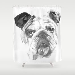 Portrait Of An American Bulldog In Black and White Shower Curtain