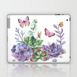 A Splendid Secret Succulent Garden With Butterfly Visitors Laptop & iPad Skin