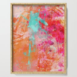 Paint Splatter Turquoise Orange And Pink Serving Tray