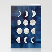 moon phases Stationery Cards featuring Moon phases by Bridget Davidson