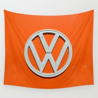 volkswagen Wall Tapestries featuring Orange is the new Volkswagen by Tales from the Norwegian forest