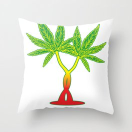 A love heart hemp plant drugs couple gift Throw Pillow