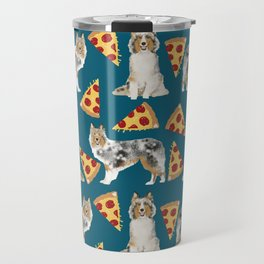 Sheltie shetland sheepdog pizza slices cheese pizzas dog breed pet friendly custom dogs Travel Mug