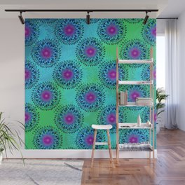 Teardrop Concentric Circle Pattern (Turquoise and Blue) Wall Mural