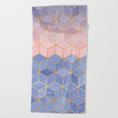 Rose Quartz & Serenity Cubes Beach Towel