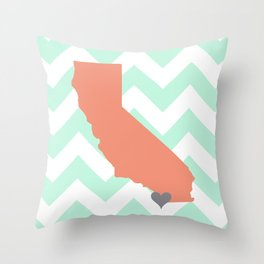 San Diego California in Coral on Mint Chevron Throw Pillow