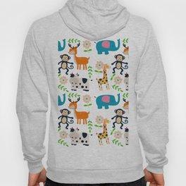 Cute cartoon animals and flowers pattern Hoody