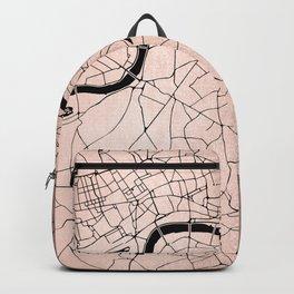 London Rosegold on Black Street Map Backpack