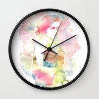 emma watson Wall Clocks featuring Emma Watson Watercolor by nicole lianne