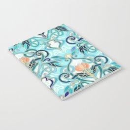 Ocean Aqua Art Nouveau Pattern with Peach Flowers Notebook