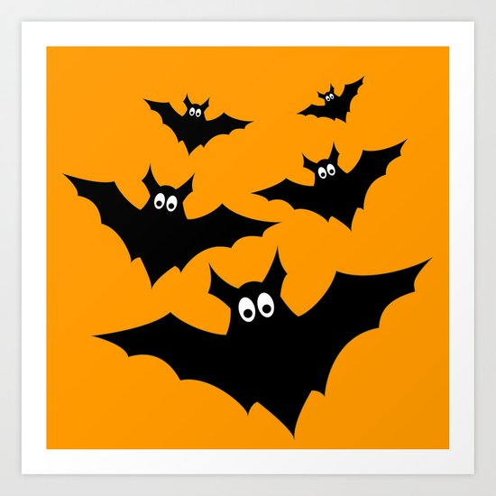 Cool cute Black Flying bats Halloween Art Print