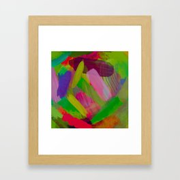 splash painting abstract texture in green pink red purple Framed Art Print