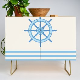 AFE Baby Blue Helm Wheel, Nautical Art Credenza