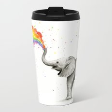Baby Elephant Spraying Rainbow Whimsical Animals Metal Travel Mug