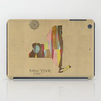 new york map iPad Cases featuring new york state map by bri.b