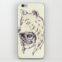 hat iPhone & iPod Skins featuring WOLF HAT by Mike Koubou