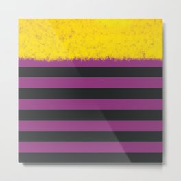 Plum and Charcoal Stripes with Yellow Metal Print