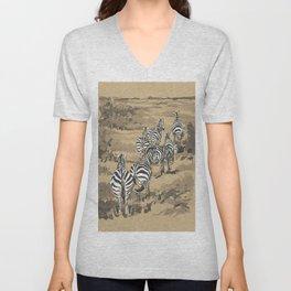 Zebras at Nairobi National Park, Kenya Unisex V-Neck
