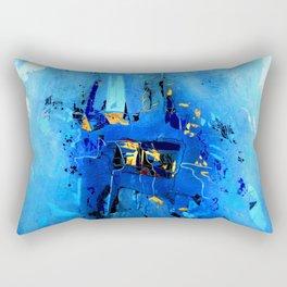 Blue, Black and White Rectangular Pillow