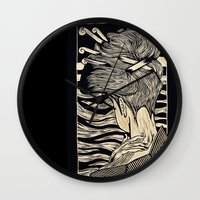 geisha Wall Clocks featuring Geisha by Mario Sayavedra