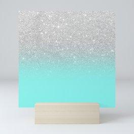 Modern girly faux silver glitter ombre teal ocean color bock Mini Art Print