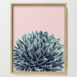 Blush Navy Blue Agave Chic #1 #succulent #decor #art #society6 Serving Tray