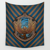 ravenclaw Wall Tapestries featuring Hogwarts House Crest - Ravenclaw Book by Teo Hoble